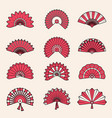 hand fan japanese authentic symbols chinese draw vector image