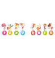 happy multiracial children jumping on the balls vector image vector image