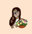 hedgehog with a basket of wild flowers vector image vector image