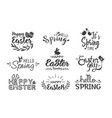 hello spring and happy easter hand drawn lettering vector image vector image