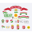 Hungary National Day Icon Set vector image vector image