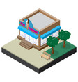 isometric ice cream shop with bench and trees vector image vector image