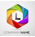 L Letter colorful logo in the hexagonal on grey vector image vector image