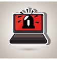 laptop computer with alarm isolated icon design vector image vector image