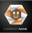 Letter u logo symbol in the colorful hexagon on