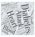 Link between diabetes heart attack and stroke Word vector image vector image