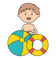 little boy with float and balloon beach vector image vector image