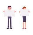 man and woman with empty white boards copy space vector image vector image