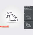 meat grinder line icon with editable stroke vector image vector image
