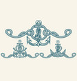 nautical retro anchor emblem set vector image vector image