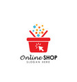 online shop logo design icon shopping basket logo vector image