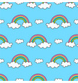 pattern with rainbows and clouds on the sky vector image vector image