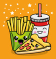 pizza and french fries with soda kawaii character vector image
