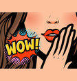 pop art female face closeup sexy young woman vector image
