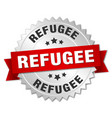 refugee round isolated silver badge vector image vector image