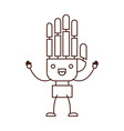 robotic hand kawaii caricature with open arms vector image