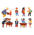 school children and teacher kids at educational vector image