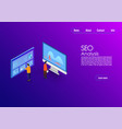 seo analytics team landing page it specialists vector image