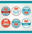 Set of seafood icons Retro labels stamps vector image vector image