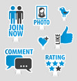 set social media sticker icons vector image vector image