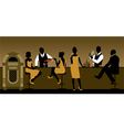Silhouettes of a group of people drinking in a bar vector image vector image