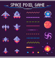 space pixel game spaceships and planets set vector image