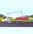 tow truck damaged car evacuation road accident vector image
