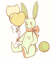 toy teddy bunny with balloons and ball vector image