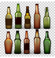 transparent beer bottles set different vector image