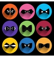 Trendy bow tie Icons With Long Shadow vector image