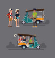 tuk tuk rickshaw driver invites tourist couple to vector image
