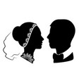 wedding silhouette 11 vector image vector image