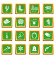 wild west icons set green square vector image vector image