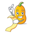 with menu butternut squash mascot cartoon vector image