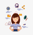woman avatar with smartphone social media icons vector image