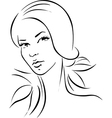 woman - black outline portrait vector image vector image