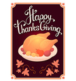 thanksgiving with golden roasted turkey and vector image