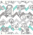 hand-drawn doodle set of retro cameras vector image