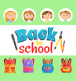 back to school kids with satchels and supplies vector image vector image