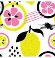 brush grunge lemon seamless pattern vector image