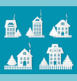 buildings silhouettes papercuts isolated set vector image