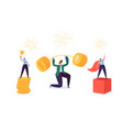 business characters businessman lifting up barbell vector image vector image