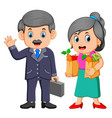 business man with young woman holding grocery vector image