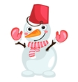 Cartoon snowman with bucket on head and scarf vector image