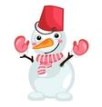 cartoon snowman with bucket on head and scarf vector image vector image