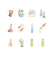 chemical and physical test tubes set of icons in vector image