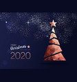 christmas and new year 2020 copper pine tree card vector image vector image