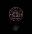 coffee bean logo cafe emblem letters stamp vector image vector image