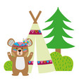 colorful bear animal with camp next to bush and vector image vector image