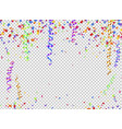 colorful serpentine and confetti on transparent vector image vector image